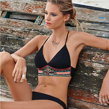 Fashion Summer Women Floral Printed Sexy Floral Printed Backless Two-Piece Erotic Bikini Swim Suit Beach Bathing Suits Swimwear _ 13353