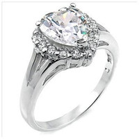 Sterling Silver 4 carat Heart Cut CZ Engagement Ring size 5-9