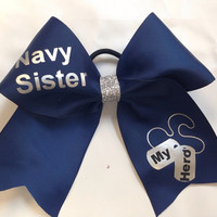 Navy Sister Cheer Bow (Customizable)