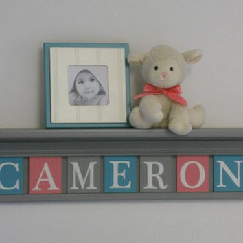 "Teal Gray and Pink Shelves Customized for CAMERON - 30"" Grey Shelf - 7 Nameplate Tiles, Personalized Baby Nursery Wall Decor and Unique Gift"