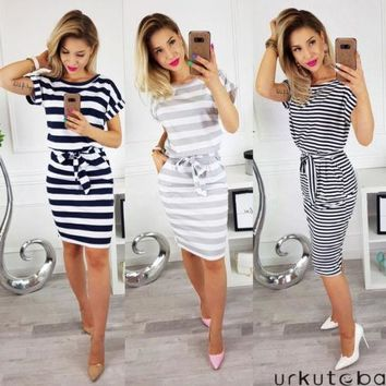 New Women Bodycon Casual Dress Plain Simple Style Summer Short Sleeve Stripe Ladies Dress Bandage Loose