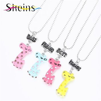 BFF Food Jewelry 4pcs/Set Best Friends Charm lovely Giraffe Animal Sika Deer Pendants Necklace Love Sisters Kids Necklace Set