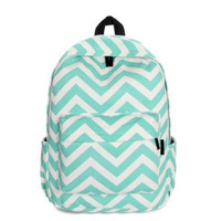 Mint Green Chevron Canvas Backpack