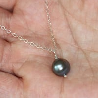 VALENTINE'S DAY, Silver Pearl Necklace, Purple Pearl Simple Delicate Silver Necklace