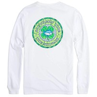 Long Sleeve Skipjack Shamrock Tee Shirt in Classic White by Southern Tide