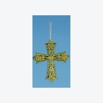 ONETOW 5' Apple Green Glitter Drenched Latin Cross Christmas Ornament