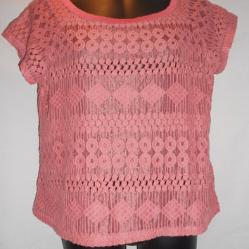 Vintage Dark Mauve Pink Geometric Lace Semi Sheer Top