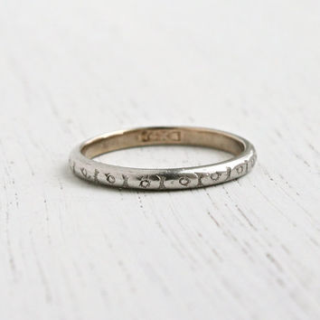 Antique Platinum Shell Over 14k Yellow Gold Wedding Band Ring - Art Deco 1920s Stacking Orange Blossom Fine Jewelry / Eternity Flowers