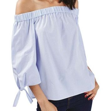 Topshop Tie Sleeves Stripe Off the Shoulder Top (Regular & Petite) | Nordstrom
