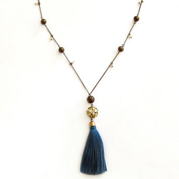 Long Tassel Necklace Tassel Boho Necklace Boho Chic Necklace Chain Bead Necklace Beaded Bead Teal Necklace