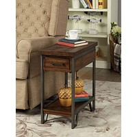 Rectangular Wood and Metal Side Table with USB Outlet, Brown and Gray -CM-AC286