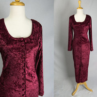 Vintage Burgundy Wine Crushed Velvet Dress 90s Grunge Goth Deep Red