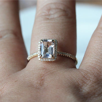 Emerald Cut VS 1 25ct Halo Morganite Ring from ByLaris on Etsy