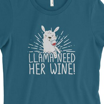 Llama Needs Her Wine - Women's Tee