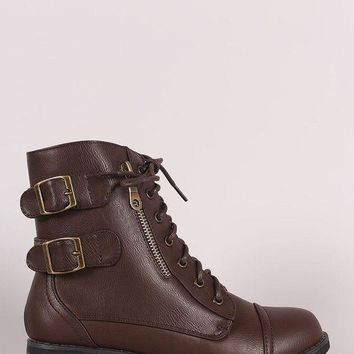 ONETOW Bamboo Buckle And Zipper Trim Lace-Up Combat Ankle Boots