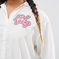 Daisy Street Plus Long Sleeve Girl Gang Shirt With Hi Lo Hem at asos.com