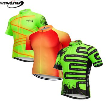 Weimostar 2018 PRO Team cycling jersey top bike shirt MTB Ropa Ciclismo Outdoor clothes men summer bicycling Maillot wear Green