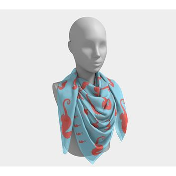 Seahorse Square Scarf - Coral on Light Blue