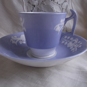 Antique Spode Copeland Art Nouveau embossed coffee can / cup and saucer. Excellent condition. Collector's item.
