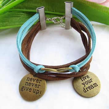 infinity bracelet--charm leather bracelet,live in your dream &never give up bracelet,infinity pendant,antique bronze bracelet, MORE COLOR