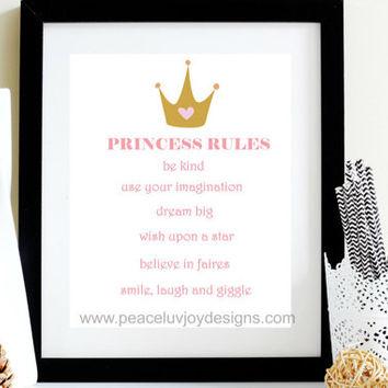 Princess Rules, Princess Rules, 8x10, Instant Download, Girl Nursery Print, Nursery Printable, Pastel Print, Wall Decor, Babe Cave