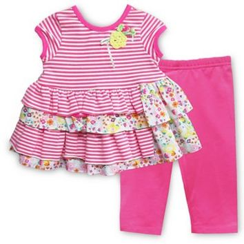 Pippa & Julie™ 2-Piece Short Sleeve Dress and Legging Set in Fuchsia Stripe/Floral