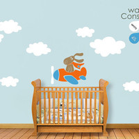 Baby Nursery Wall Decal - Fun Plane Wall Decal - Pilot Dog Wall Decal - Nursery Wall Sticker - K012