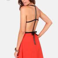 LULUS Exclusive Want You Back Black and Red Belted Dress