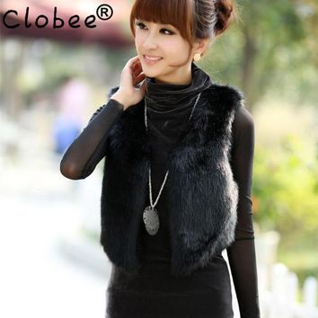 2018 Women Waistcoat Winter Short manteau fourrure femme Rex Rabbit Faux Fur Vest Jacket Soft  Fake Fur Vest Black V724