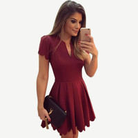Cute Elegant Fashion Summer Dresses High Waist Mini Wine Red Short Dress For Women Pleated Vintage Ladeis Dresses Plus Size