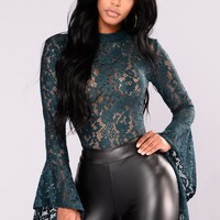 Cindy Bell Sleeve Stretch Lace Bodysuit - Teal