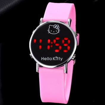 Hello Kitty LED Kids Watch Cartoon Watch Children's Watches For Girls Jelly Silicone Clock Cute Watch Baby montre enfant