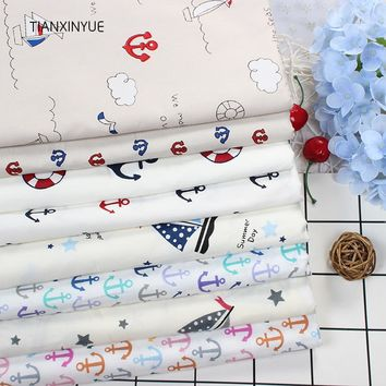 Twill 8 pcs Ocean anchor series Cotton Fabric DIY Patchwork Sewing Kids Bedding
