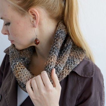 Hand knitted chunky women cowl spring trends rustic woodland brown OOAK