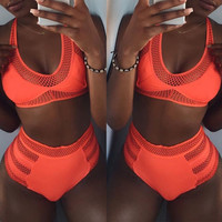 High Waist Hollow Bikini Set Swimsuit Swimwear