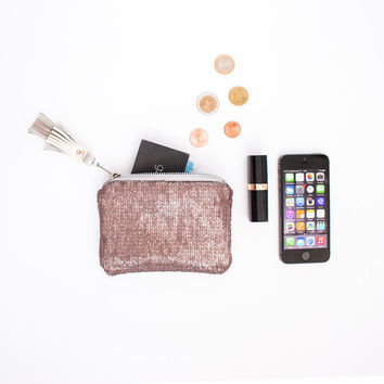 Blush Pink Leather & Rose Gold Sequins Metallic Leather Clutch, Coin Purse, Fancy Bridesmaid Gift, Sequin Wedding Pouch