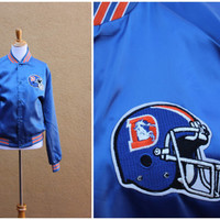 Vtg 80's Denver Broncos Chalk line NFL coat satin blue orange Men's Medium Women's Large Starter Jacket