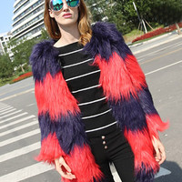 Red Faded Color Block Fluffy Faux Fur Coat