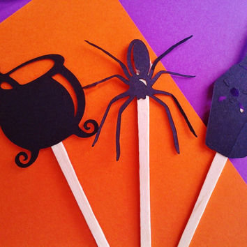 cupcake toppers, halloween, spider, cupcake wrappers, potion, witches brew, halloween party, birthday, spooky, spell, halloween decor