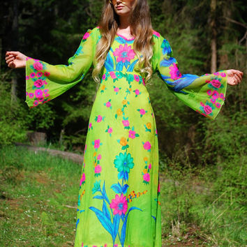60s Angel Sleeve Maxi Dress, Neon Psychedelic Dress Gown, Floral Sheer Chiffon Dress, Lime Green Blue Pink Velvet Dress, Long Sleeve Maxi
