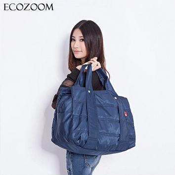 Winter Large Capacity Women Waterproof Nylon Warm Handbag Mummy Casual Tote Fashion Fold Over Bag Femme Bolsos Mother Diaper Bag