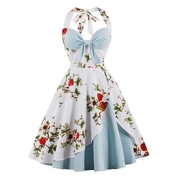 Women retro dress 1950s 60s vintage pin up rockabilly swing party dresses elegant Hepburn robe sexy halter floral print vestidos