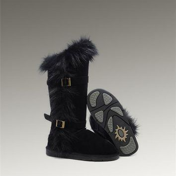 UGG Fox Fur Tall Boots 1984 Black