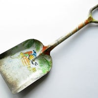 Vintage Sand Shovel, J. Chein & Co. Pirate Parrot Old Metal Shovel, Beach Decor