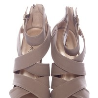 Leap Across Criss Cross Strap Open Toe Sandals - Taupe from Date Night at Lucky 21 Lucky 21