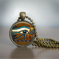 Glass Tile Necklace Eye of Horus Necklace Egyptian Necklace Egyptian Eye Glass Tile Jewelry Egytian Jewelry Black Jewelry Black Necklace