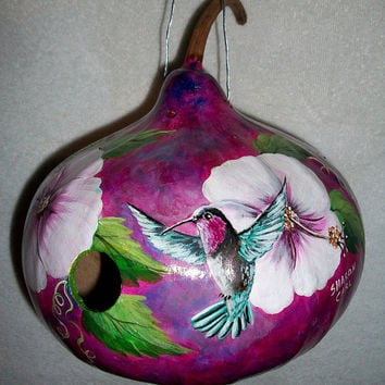 Made to Order  Gourd Birdhouse Purple-Throated Carib Hummingbirds Humming around the Hibiscus Flower  Hand Painted