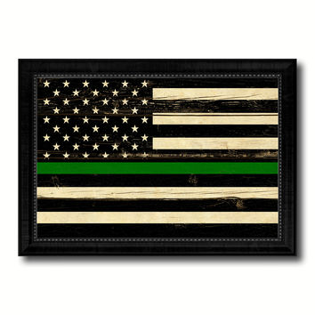Thin Green Line Support Border Patrol American USA Flag Vintage Canvas Print with Black Picture Frame Home Decor Wall Art Decoration Gift Ideas