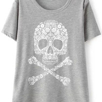 Grey Short Sleeve Floral Skull Print T-Shirt