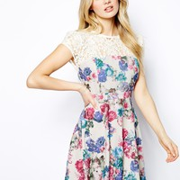 Lydia Bright Lace Top Skater Dress In All Over Floral